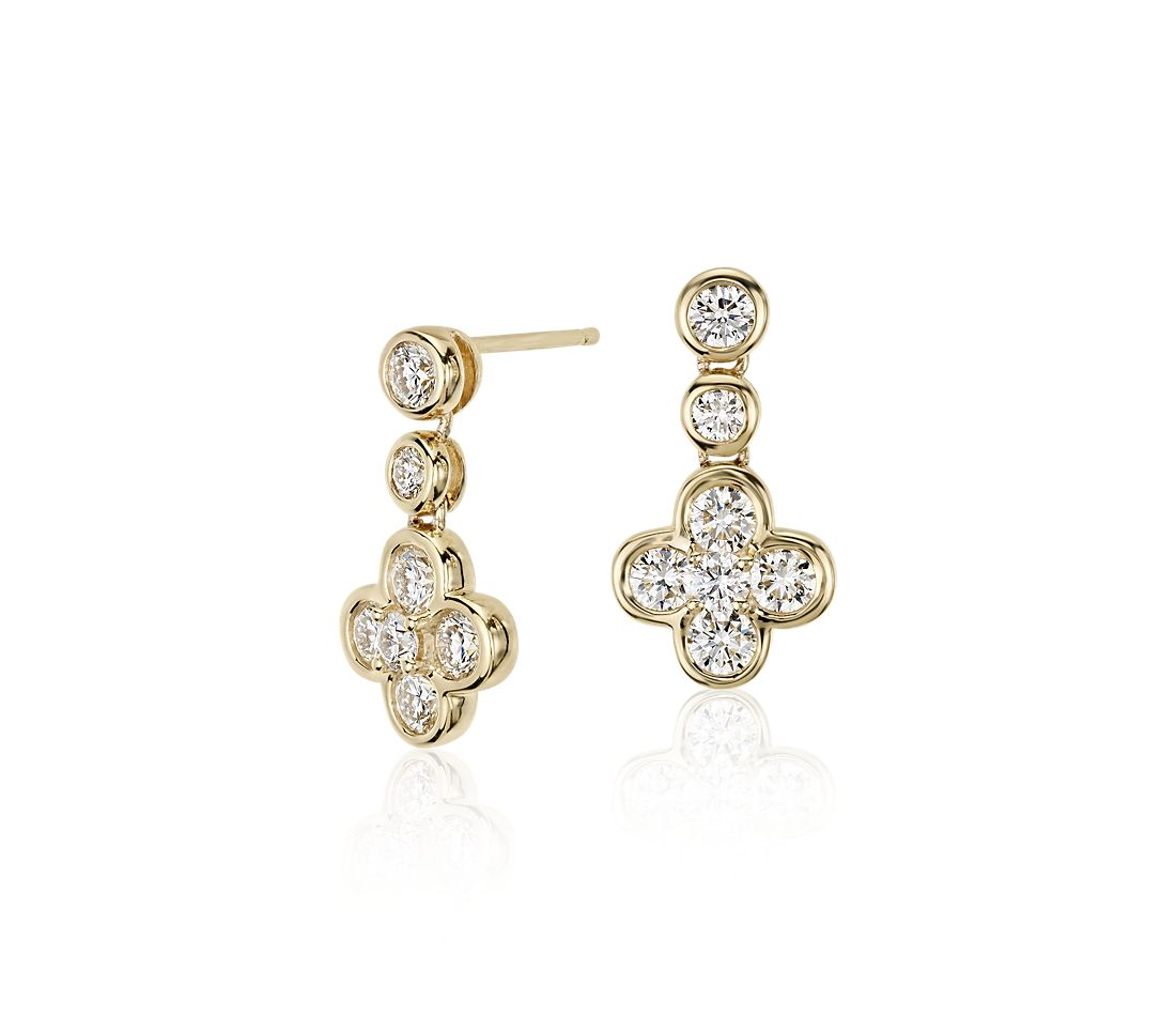 Blue Nile Studio Diamond Floral Drop Earring in 18k Yellow Gold (1 ct. tw.)