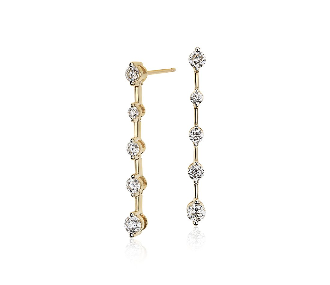 Blue Nile Studio Diamond Drop Earrings 18k Yellow Gold 4 5 Ct Tw