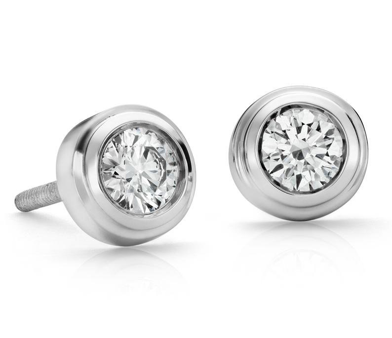Diamond Bezel Stud Earrings in 18k White Gold (3/8 ct. tw.)