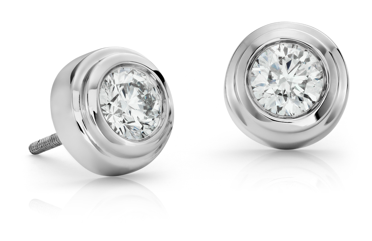 Diamond Bezel Stud Earrings in 18k White Gold (1.20 ct. tw.)