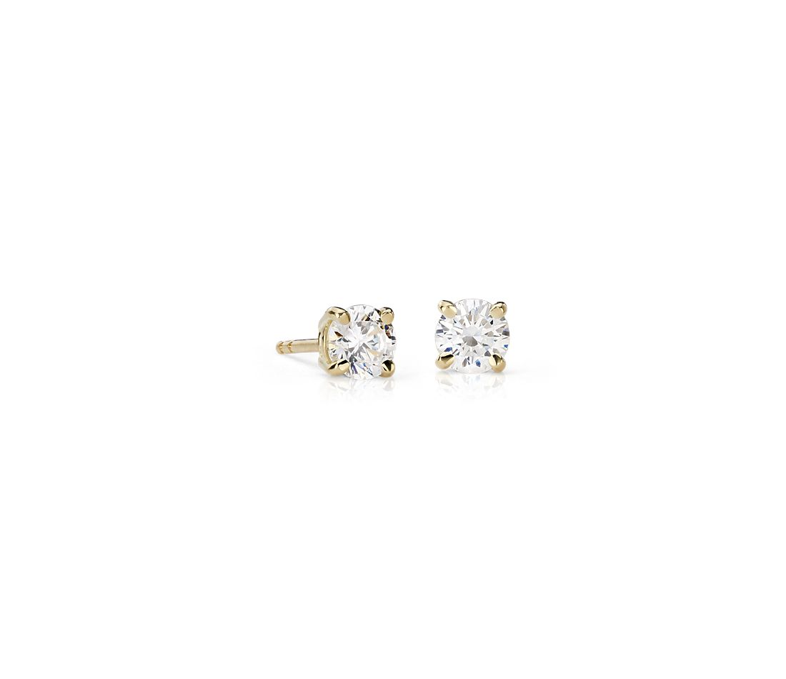 18k Yellow Gold Four-Claw Diamond Stud Earrings (0.96 ct. tw.)