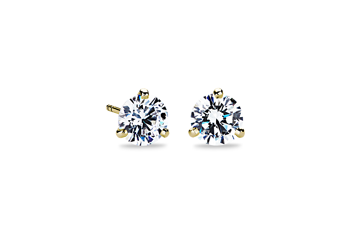 Three-Prong Martini Earrings in 18k Yellow Gold