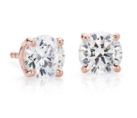 Four-Prong Earrings in 14k Rose Gold