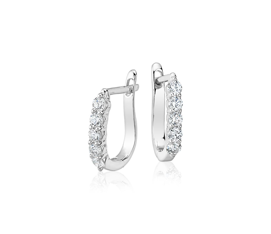 Diamond Hoop Earrings In 18k White Gold 3 4 Ct Tw