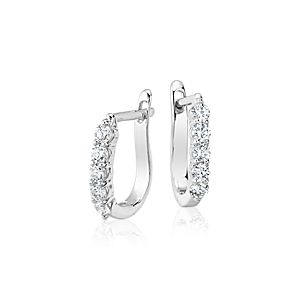 Diamond Hoop Earrings in 18k White Gold (3/4 ct. tw.)
