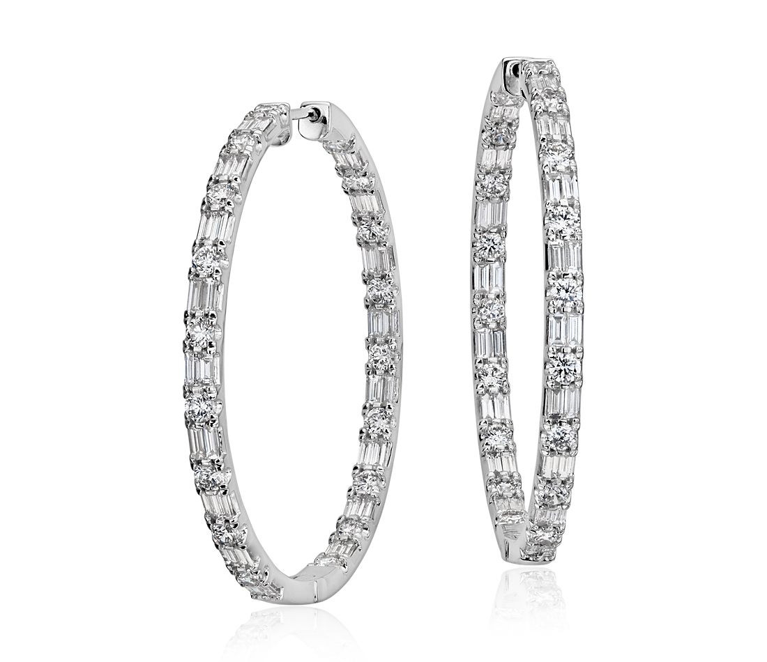 large diamond hoop earrings in 18k white gold 4 1 2 ct. Black Bedroom Furniture Sets. Home Design Ideas