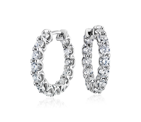 Diamond Hoop Earrings in 18k White Gold- F/VS (2.96 ct. tw.)