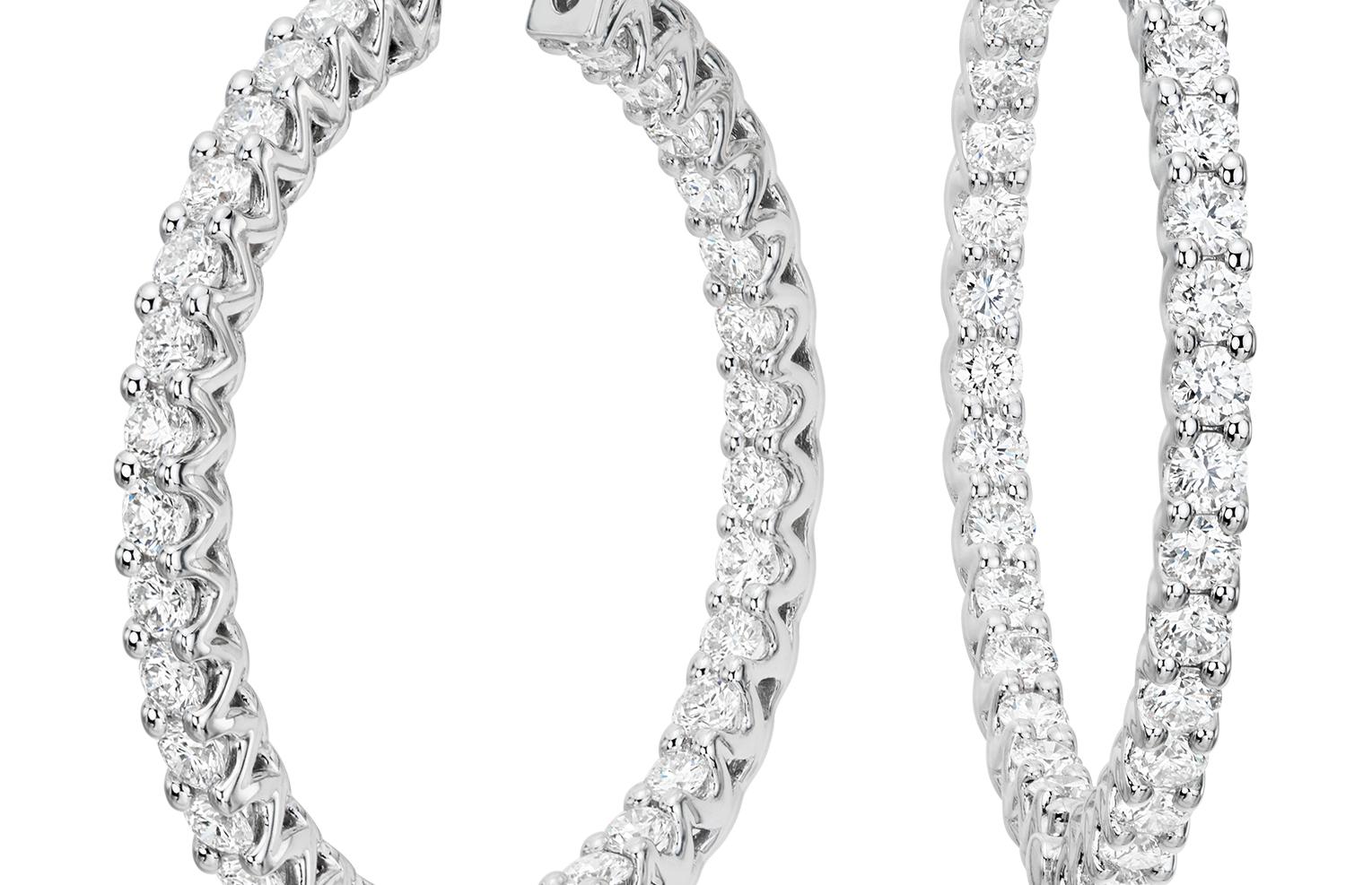 Créoles diamant éternité en or blanc 18carats (3carats, poids total)