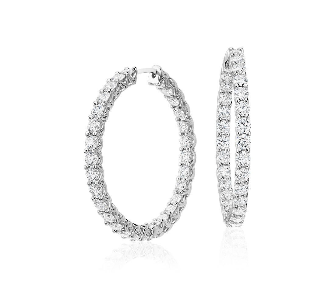 Diamond Eternity Hoop Earrings In 18k White Gold 4 3 4 Ct