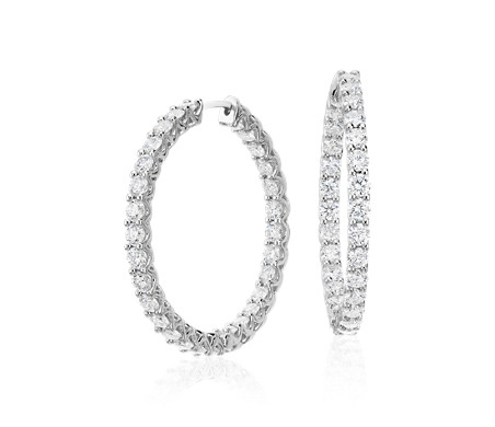 Diamond Eternity Hoop Earrings in 18k White Gold (4 3/4 ct. tw.)