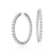 Diamond Eternity Hoop Earrings in 18k White Gold (4 3/4 ct. tw.)