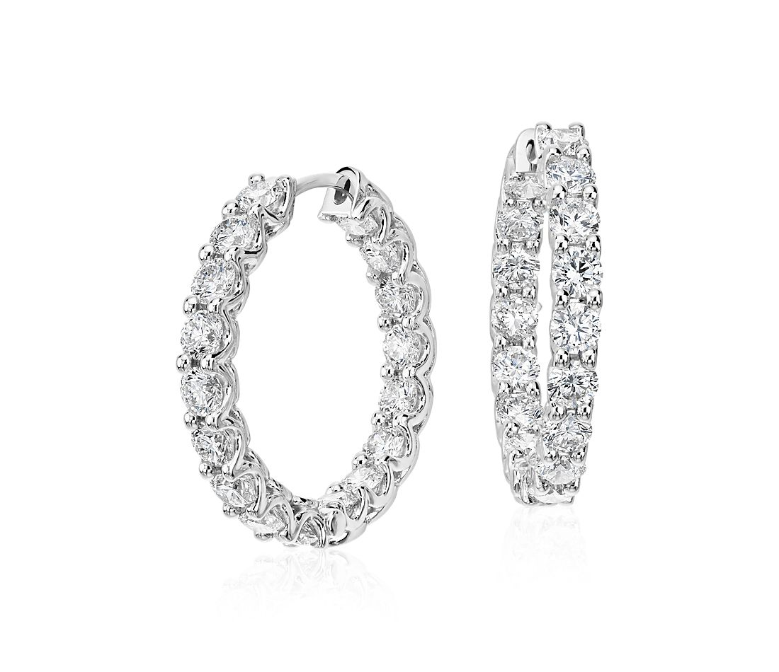 Diamond Eternity Hoop Earrings In 18k White Gold 4 1 2 Ct Tw