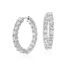Créoles diamant éternité en or blanc 18carats (4 1/2carats, poids total)