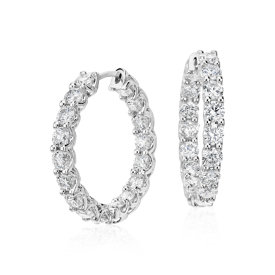 Diamond Eternity Hoop Earrings in 18k White Gold (4 1/2 ct. tw.)