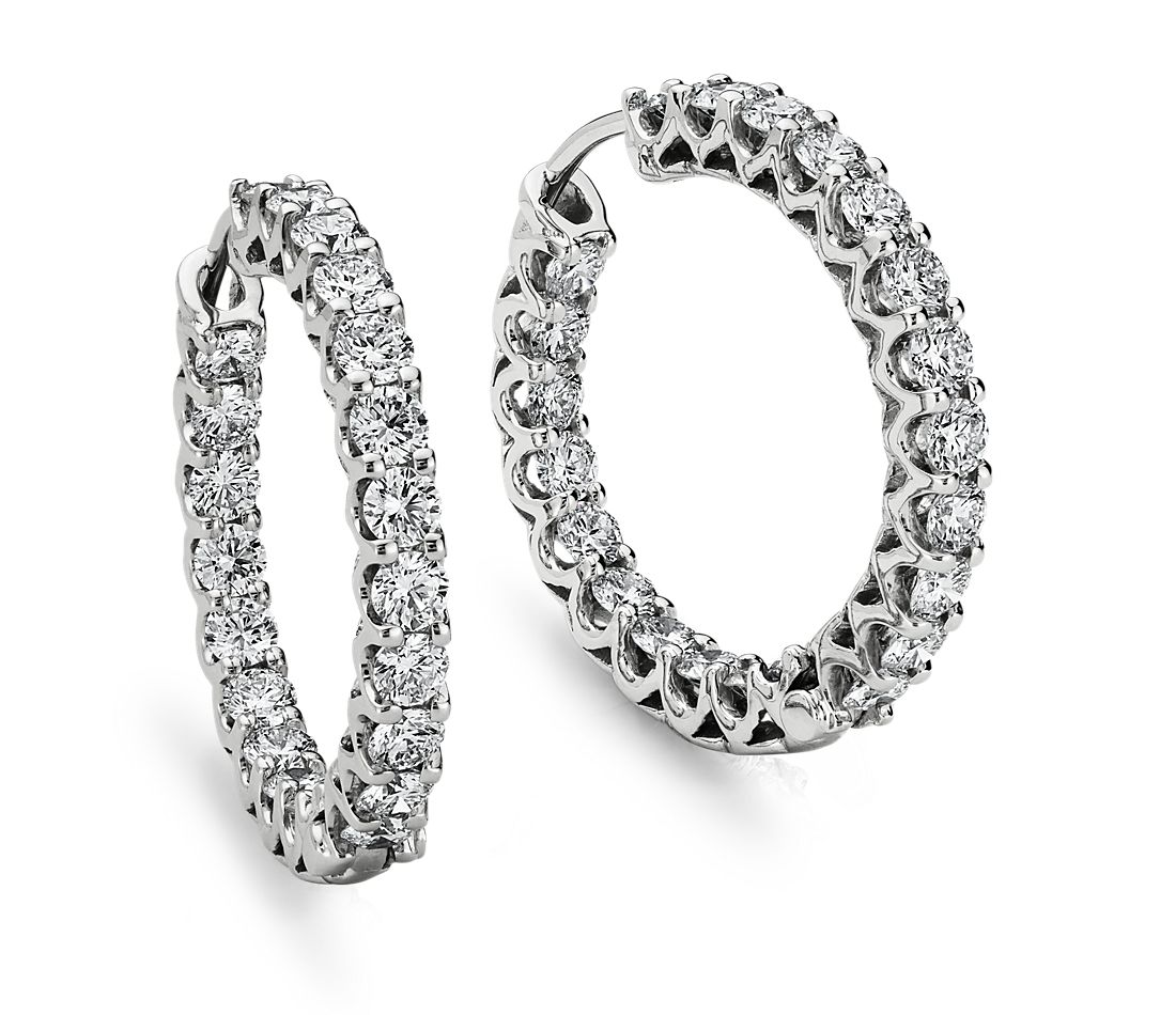 Diamond Eternity Hoop Earrings In 18k White Gold 3 1 2 Ct Tw