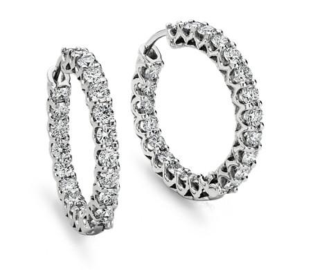 18k 白金永恒限钻石圈形耳环<br>(3 1/2 克拉总重量)