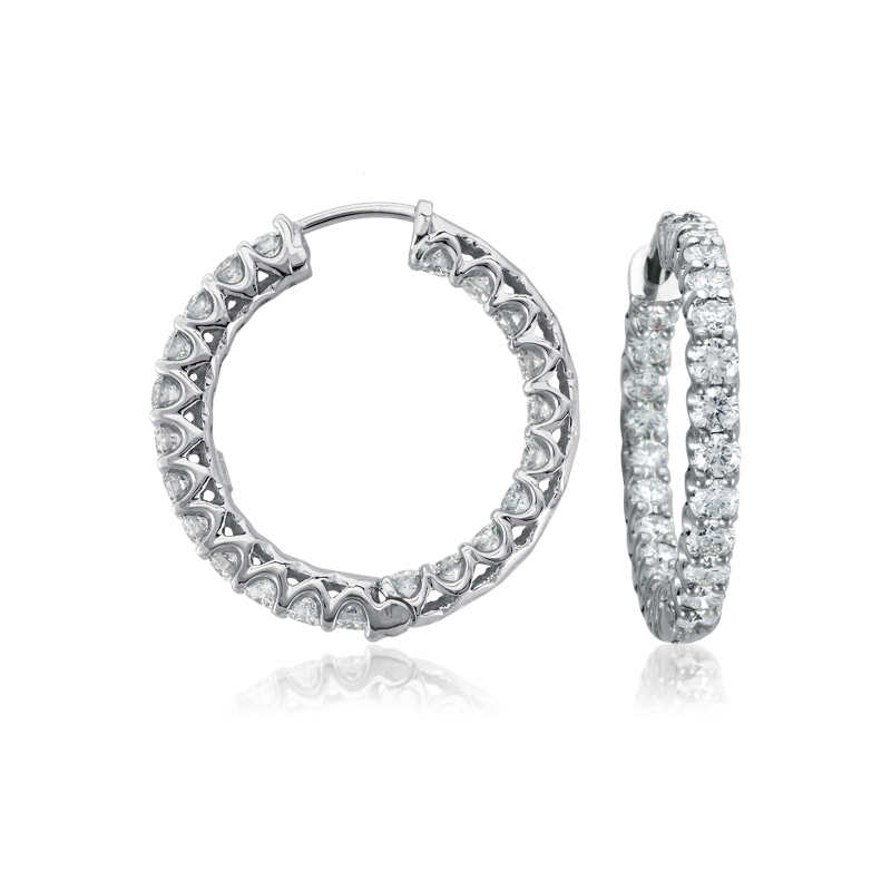 Diamond Eternity Hoop Earrings in 18k White Gold (3 1/2 ct. tw.)