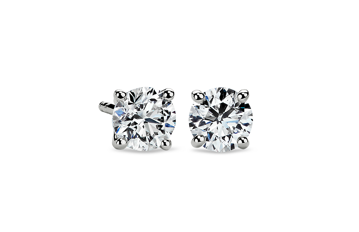 Four-Prong Earrings in Platinum