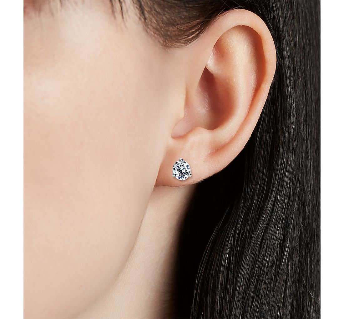 Three-Claw Martini Earrings in Platinum