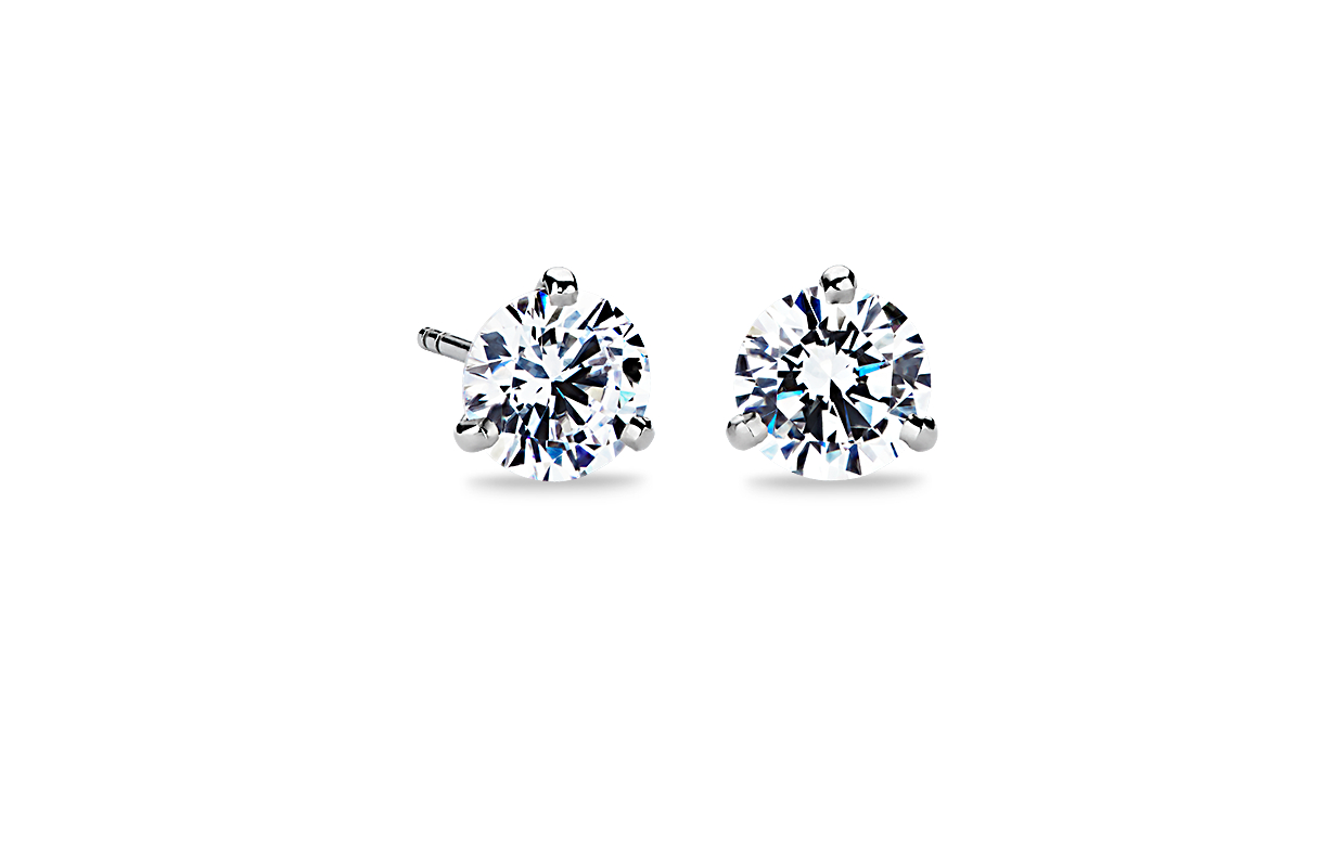 Three-Prong Martini Earrings in Platinum