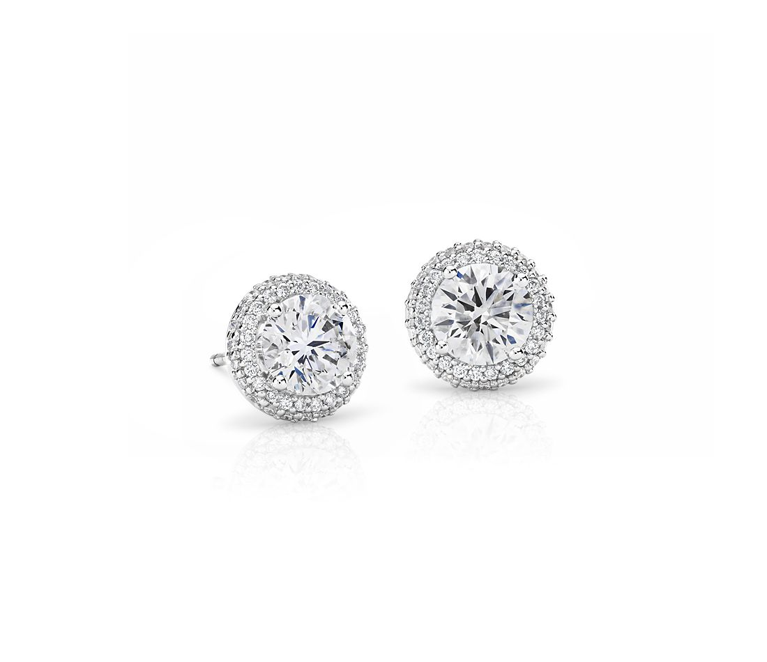 Boucles d'oreilles coulissantes halo de diamants Signature Blue Nile en platine