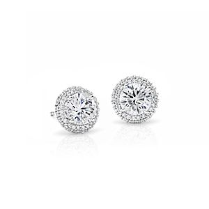 Blue Nile Signature Rollover Halo Diamond Earrings in Platinum (2 ct. tw.)