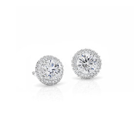 NEW Blue Nile Signature Rollover Halo Diamond Earrings in Platinum
