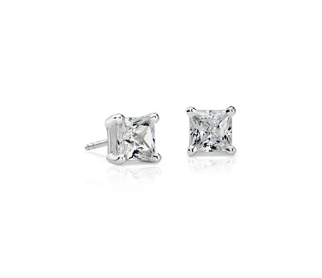 Blue Nile Princess-Cut Diamond Stud Earrings in 14k White Gold (1/2 ct. tw.) aXw7EZiNh