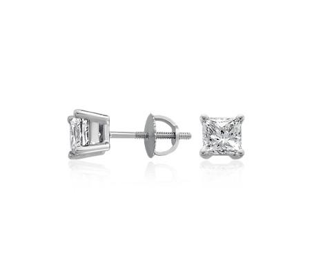 Blue Nile Diamond Princess Stud Earrings in 18k White Gold (3/8 ct. tw.) - F / VS 4G56cur1n
