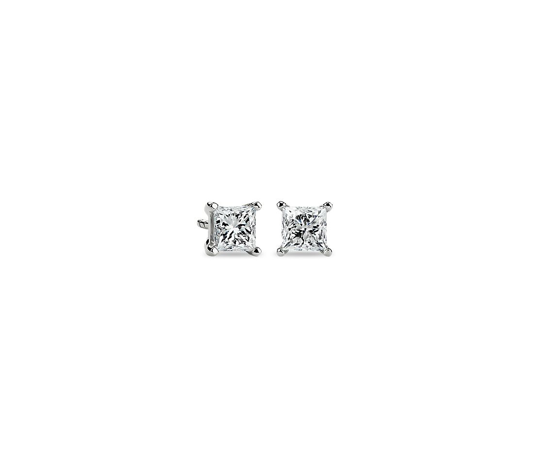 Platinum Four-Claw Princess Diamond Stud Earrings (1 ct. tw.)