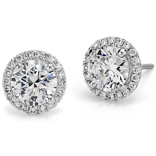 Halo Diamond Earring Setting In Platinum Blue Nile