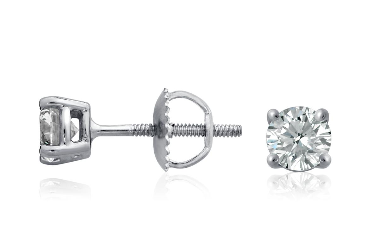 Puces d'oreilles en diamant en or blanc 18carats (3/4carat, poids total)