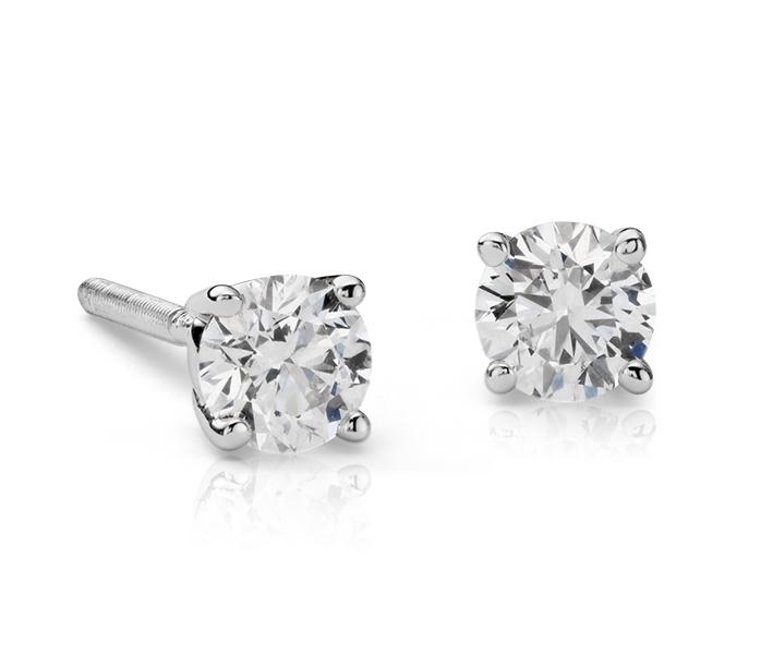 Puces d'oreilles en diamant en or blanc 18carats (3/8carats, poids total)