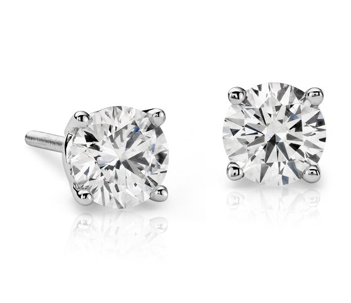 Aretes de diamantes en oro blanco de 18 k (0,80 qt total)