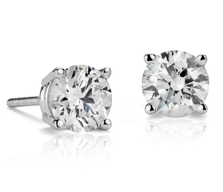 Puces d'oreilles en diamant en or blanc 18carats (1,20carats, poids total)
