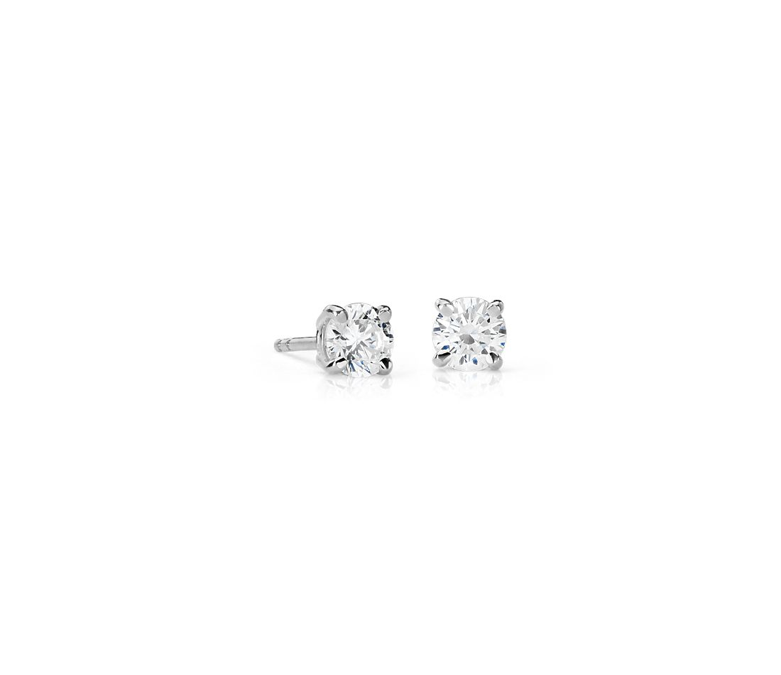 Diamond Stud Earrings In 18k White Gold 1 Ct Tw