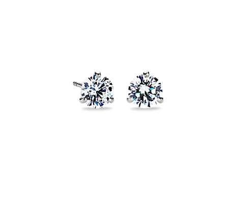 Three-Prong Martini Earrings in 18k White Gold