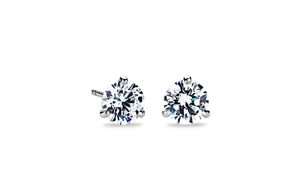 Three-Claw Martini Earrings in 14k White Gold