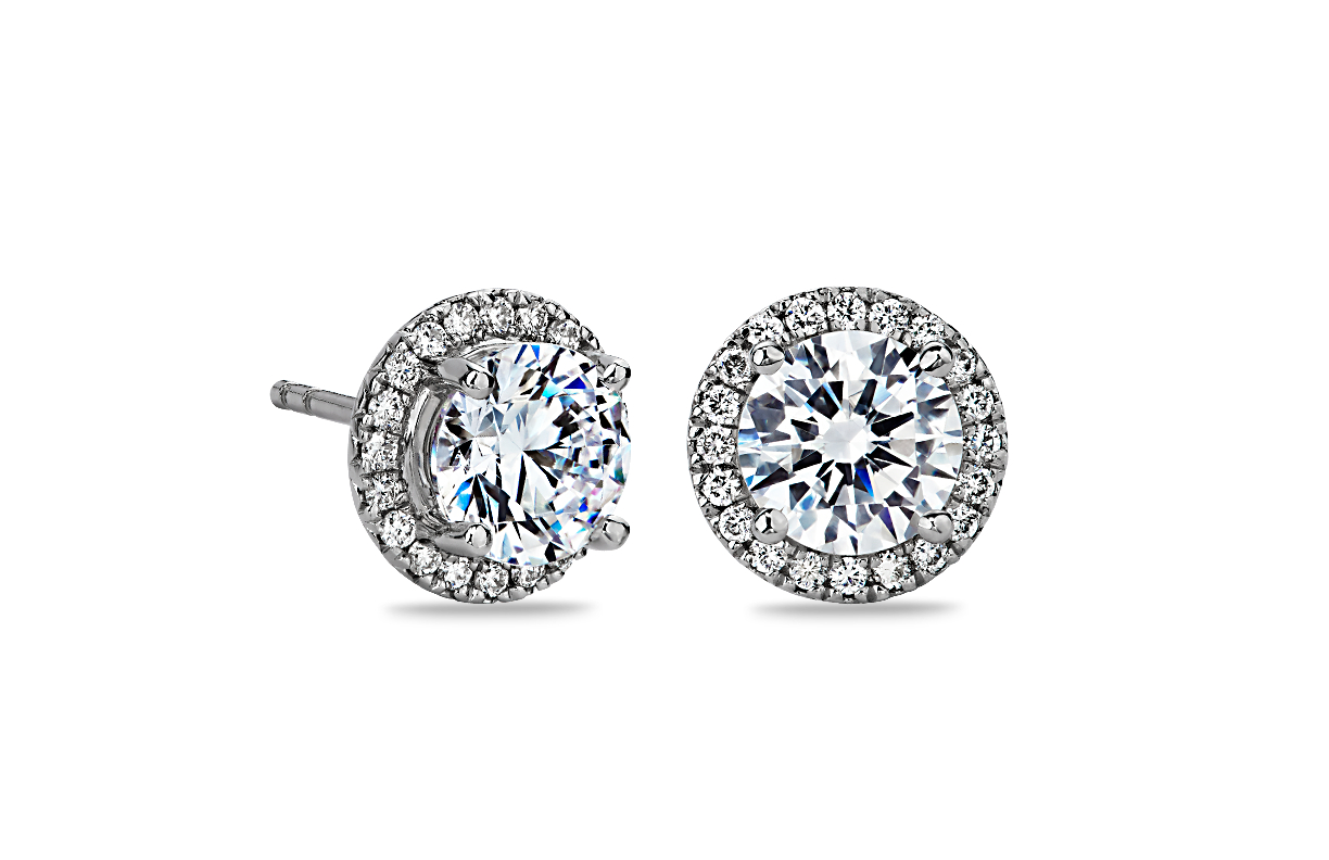 Montures de boucle d'oreilles halo de diamants en or blanc 14 carats