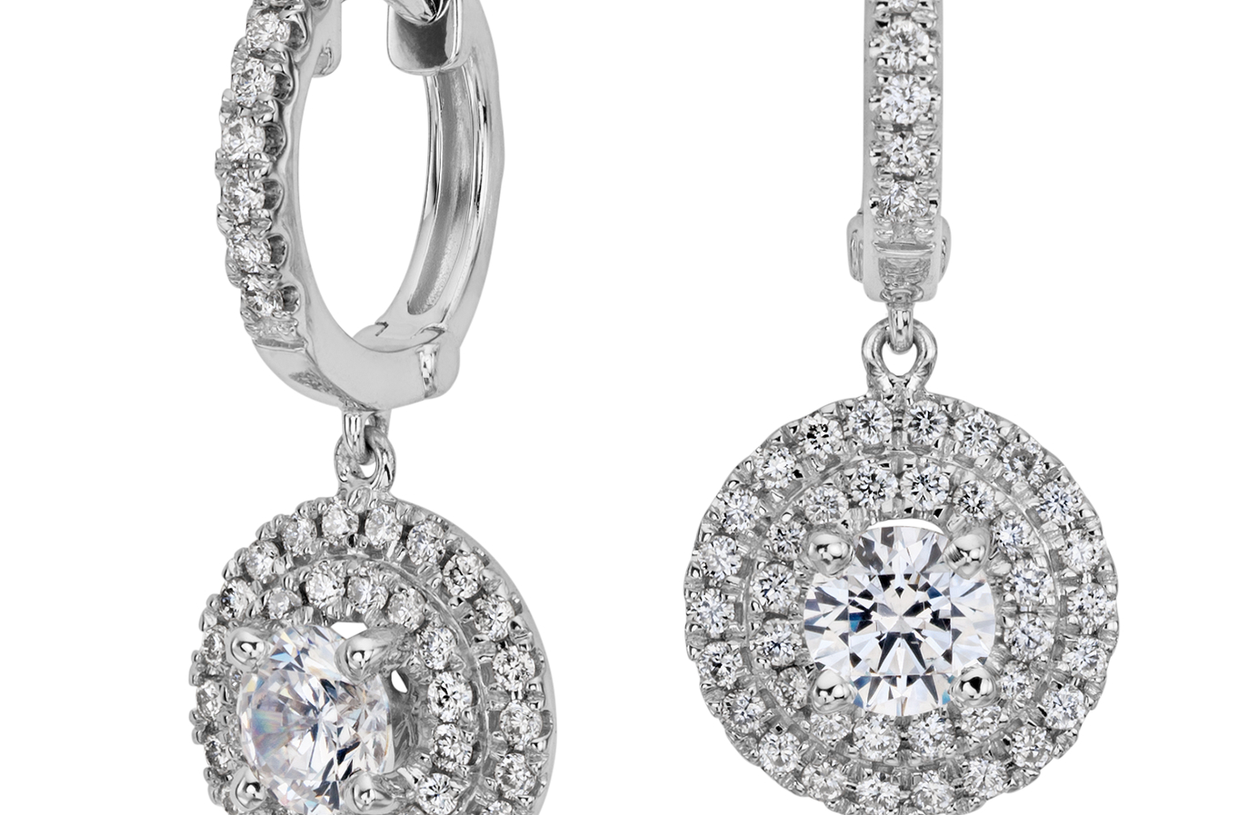Diamond Double Halo Hoop Earring Setting in 18k White Gold (for 1ct tw center diamonds)