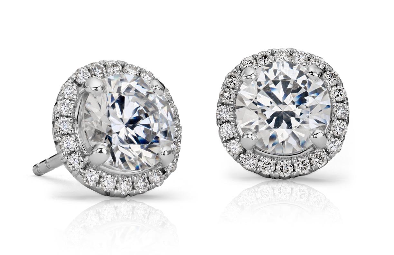 Montures de boucle d'oreilles halo de diamants en or blanc 14carats