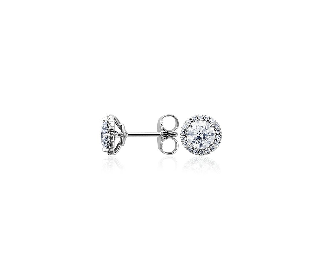 Boucles d'oreilles halo de diamants en or blanc 18 carats (plus de 1 ct. p. t.)