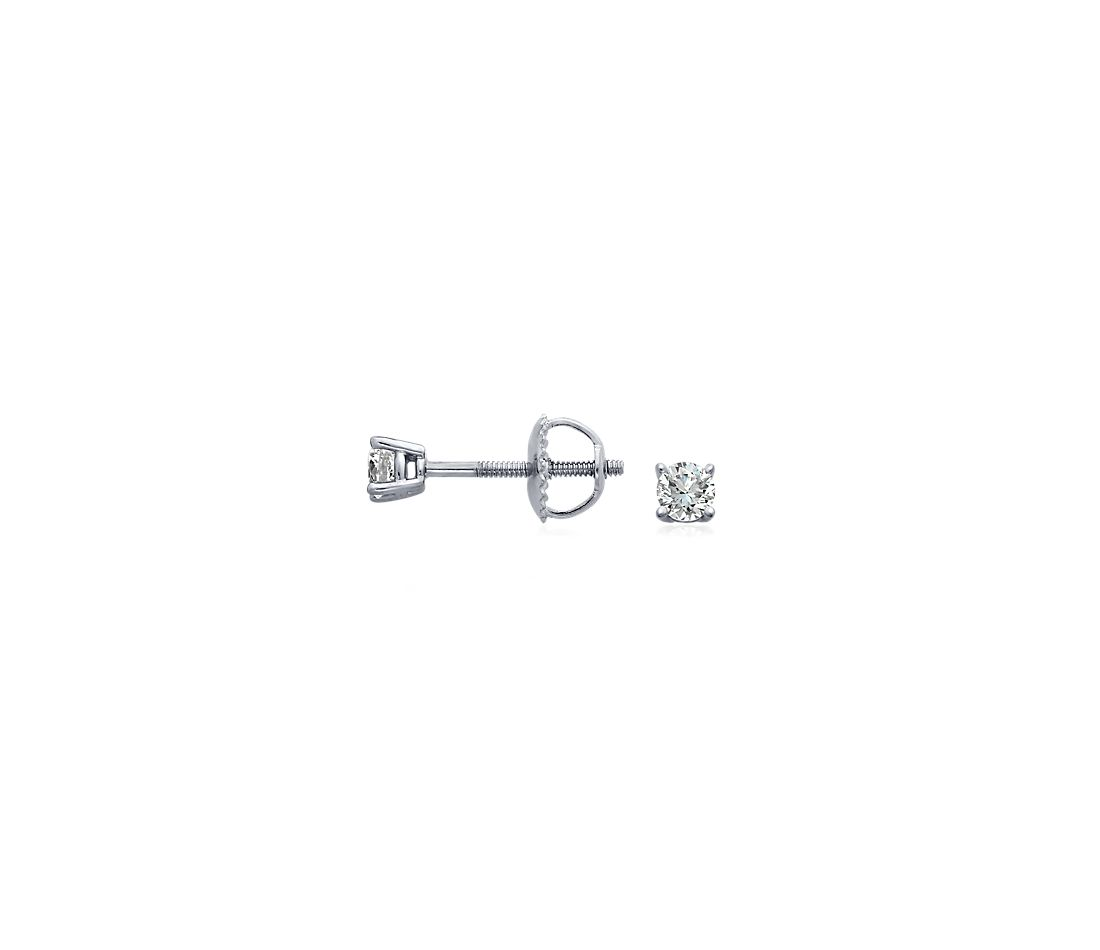 18k White Gold Four-Claw Diamond Stud Earrings (1/4 ct. tw.)