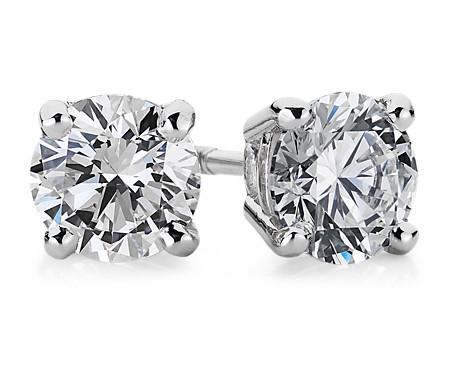 Diamond Stud Earrings in 18k White Gold (1 ct. tw.)