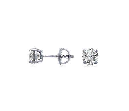Blue Nile Canadian Diamond Stud Earrings in 18k White Gold (1/2 ct. tw.) XjpJJs