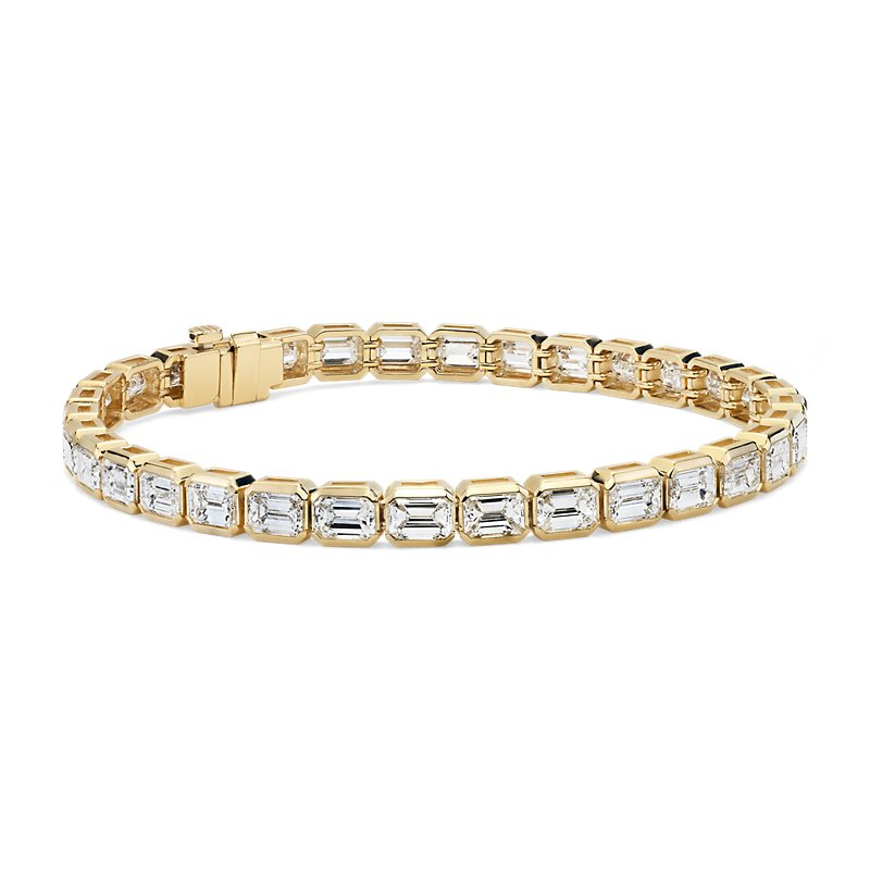Emerald-Cut Diamond Eternity Bracelet in 18k Yellow Gold (9.93 ct