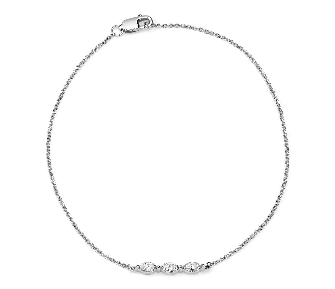 Diamond Marquise-Cut Three Stone Bracelet in 14k White Gold