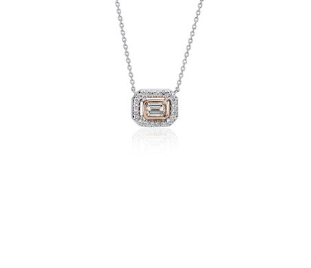 Diamond Emerald Petite Halo Pendant in 14K White and Rose Gold (1/4 ct. tw.)