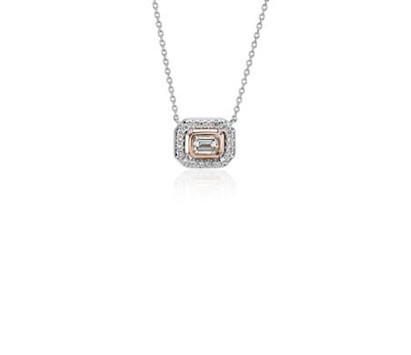 Petit pendentif diamant et émeraude avec halo en or rose et or blanc 14carats (1/4carat, poids total)