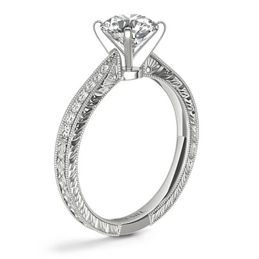 Hand-Engraved Micropavé Diamond Engagement Ring